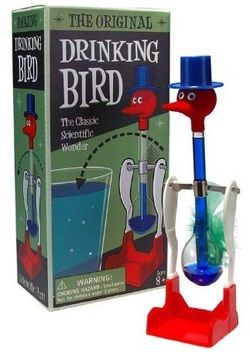 My grandmother had one of these Drinking Birds for years.  I think giving a mom who remembers a vintage one from the past one of these new reproduction drinking birds would be a fun gift idea. #retro
