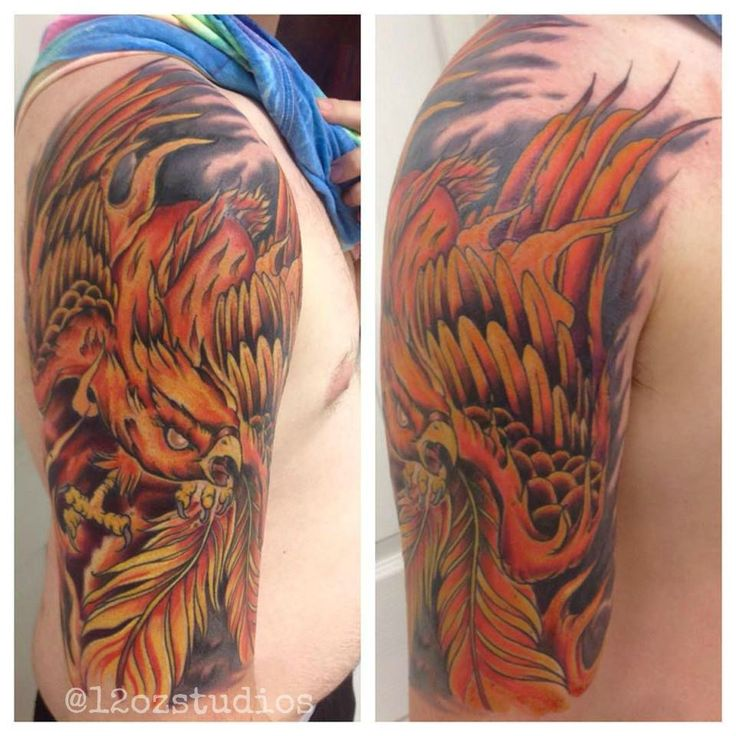 incredible full color bright phoenix flames male half sleeve tattoo by alex feliciano alex. Black Bedroom Furniture Sets. Home Design Ideas