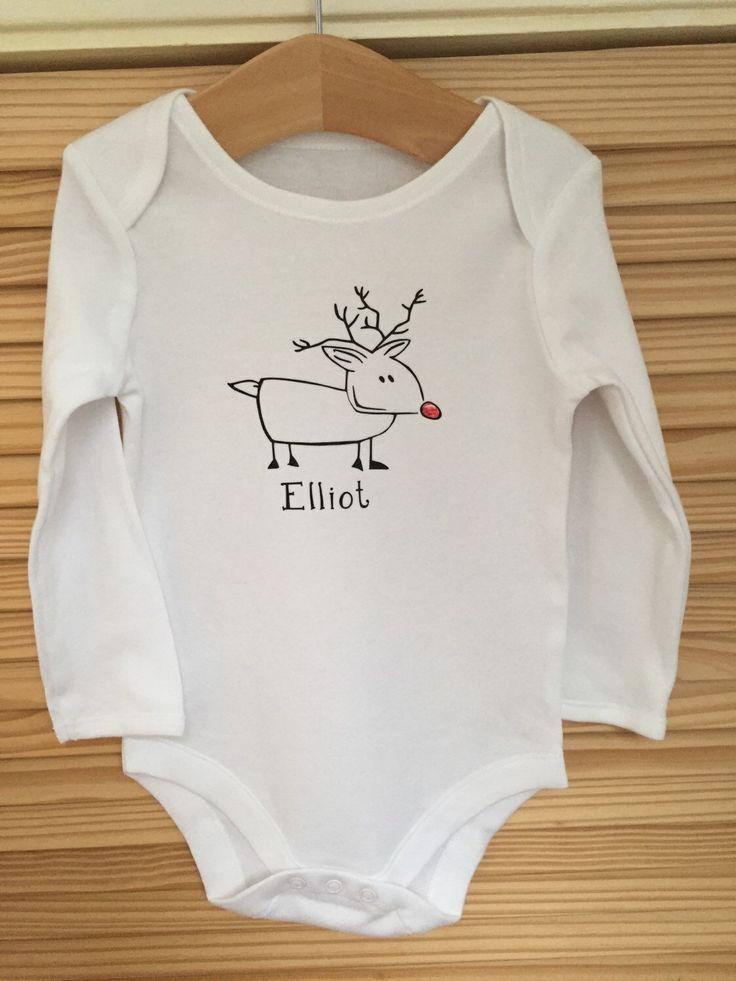Personalised Christmas Baby Grow by PrettyPoshDesigns on Etsy https://www.etsy.com/listing/255617892/personalised-christmas-baby-grow