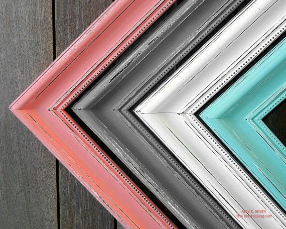 "Frame 24x36 2"" Thick Picture Frame Shabby chic  - You pick the color Peach Coral Mint Gray Blue Pink Painted and Distressed Picture Frame"