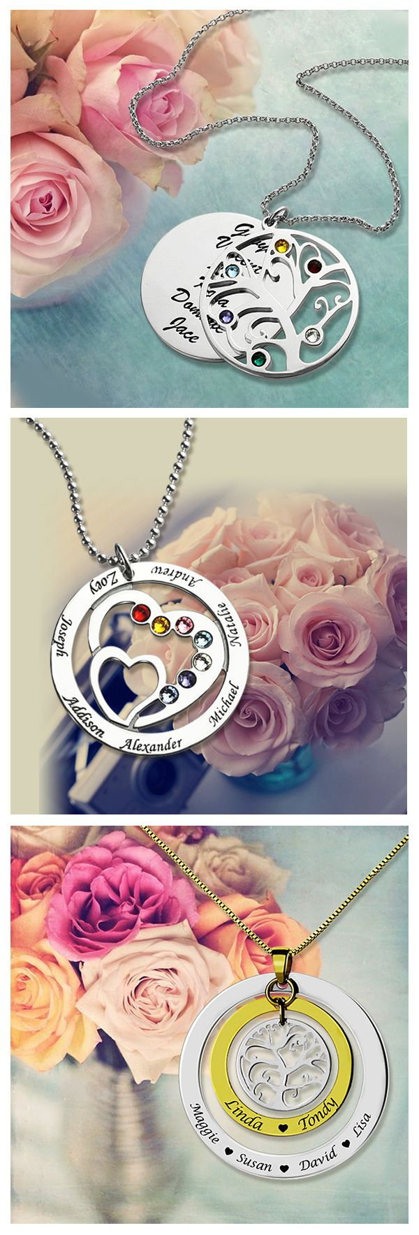 Give your wonderful grandmother or mother a  personalized family necklace, show her just how much she is appreciated with these heartfelt gifts! Find more at Getnamenecklace.com