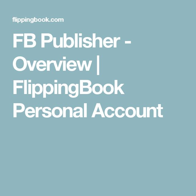 FB Publisher - Overview | FlippingBook Personal Account