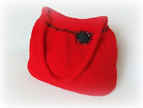 Crocheted handbag red handbag crochet shoulder bag by styledonna