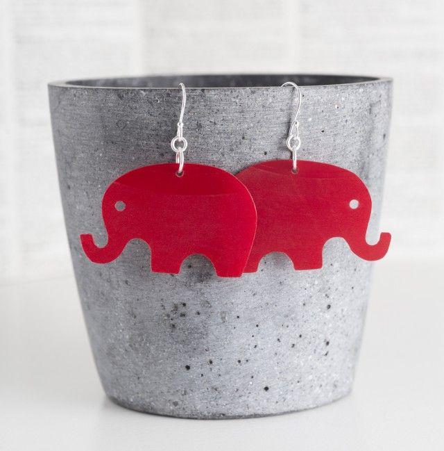 Elefanter, röd vinylskiva - Örhängen