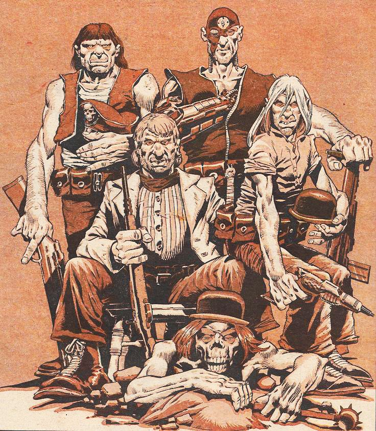 Judge Dredd- The Angel Gang.Possibly drawn (or inked?) by Dave Gibbons, in a combination of McMahon's & Bolland's styles...