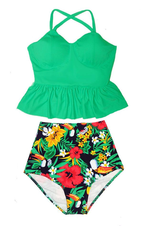 Green Tankini Long Peplum Underwire Top and Boho Graphic High waist waisted Bottom Swimsuit Swimwear Swim Bathing suit wear Bikini S M L XL by venderstore on Etsy