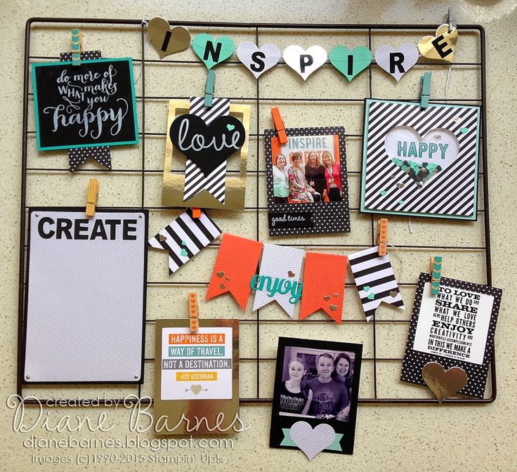 Stampin Up display board made with adapted Hello Life project kit & So You stamp set. By Di Barnes