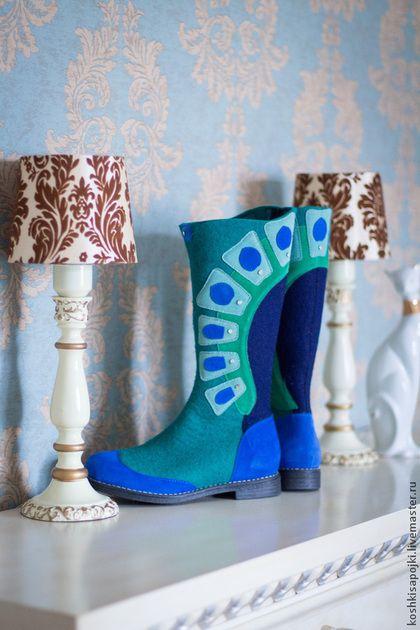 """Обувь ручной работы. Ярмарка Мастеров - ручная работа. Купить Валенки Валяные """"Мята"""". Handmade. Морская волна, валенки с рисунком"""