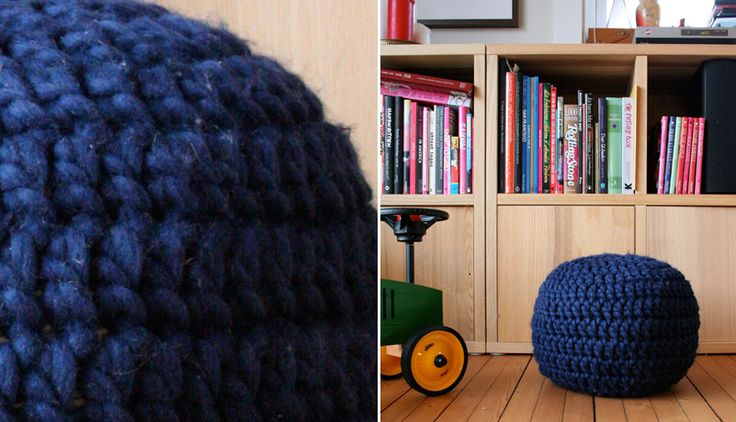 Puff Granny´s Baby - crochet pouf - Free pattern. This seems simple enough. Just need to find thick enough wool or crochet with multiple strands.