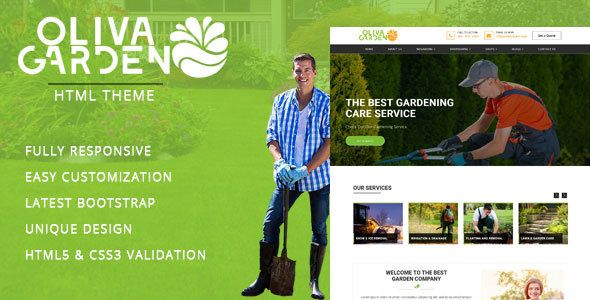 Garden - Company HTML Template . Oliva Garden Care – Gardening and Landscaping HTML Template is designed specially for Gardening, Landscaping Companies, Lawn Services, Agriculture, Landscape Architects and all type of Gardners Business and those who offer Gardener related services. Garden Care template has beautifull and unique