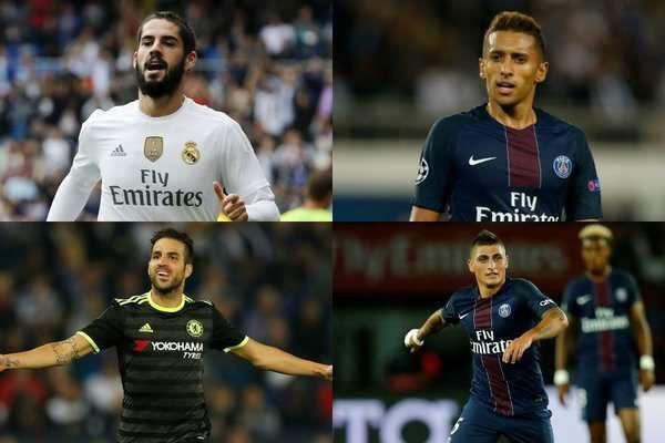 Isco - Marquinhos - Cesc Fabregas - Marco Verratti: Isco, Cesc Fabregas, Marco Verratti et Marquinhos sont les cibles de l'AC Milan et de l'Inter Milan.