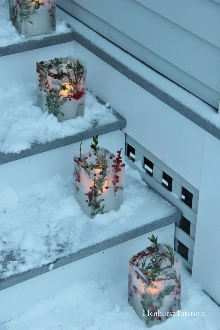 DIY Front Yard Christmas Decorating Projects • A round-up of great Ideas and Tutorials! Including, from 'henhurst interiors', how to make these luminaries made from frozen ice.