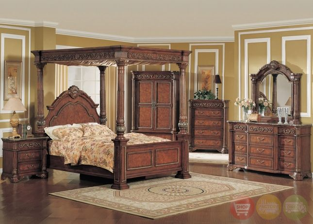 kamella traditional cherry poster canopy bedroom set marble accents dumont queen sets dark wood & 7 best Bedroom sets images on Pinterest | Bedrooms 3/4 beds and 4 ...