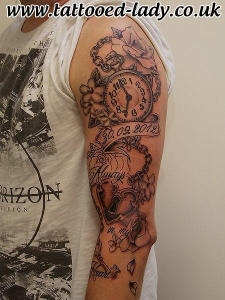 Pocket watch and padlock custom sleeve tattoo. Work in progress. Custom design and tattoo by the Tattooed Lady #tattooedladym35 #tattoo