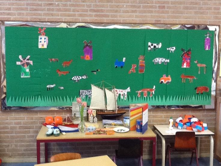Thema tafel en prikbord als weiland met tekeningen van de kinderen:)