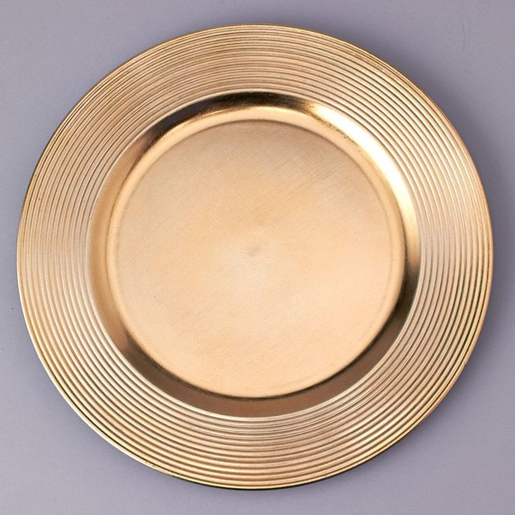 """Plastic Charger Plate in Metallic Gold<br>13"""" Round"""
