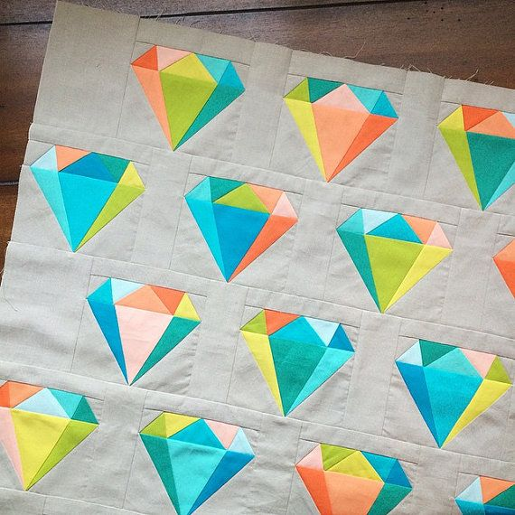 Gemology Quilt Block   Diamond Paper Pieced by SarahRoseQuilts