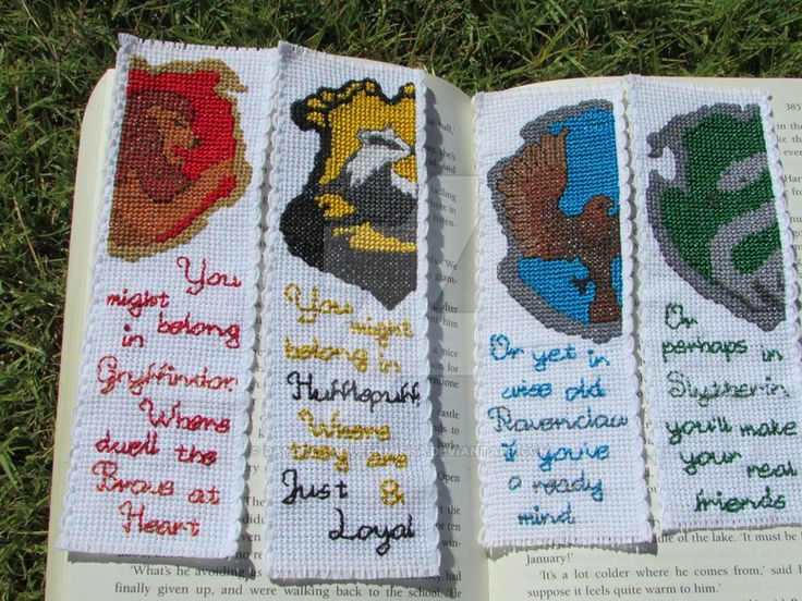 Cross stitch bookmark for each of the four Hogwarts houses from Harry Potter. Crests were designed on KG-Chart Pro, using the Pottermore house crests as a guide. Quotes (From Sorcerer's S...