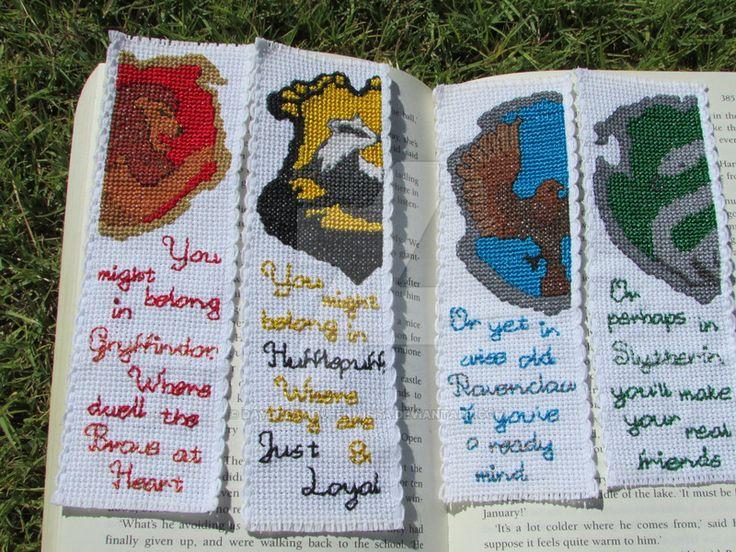 Harry Potter House Crest Cross-Stitch bookmark set by DaydreamQueenMisha on DeviantArt