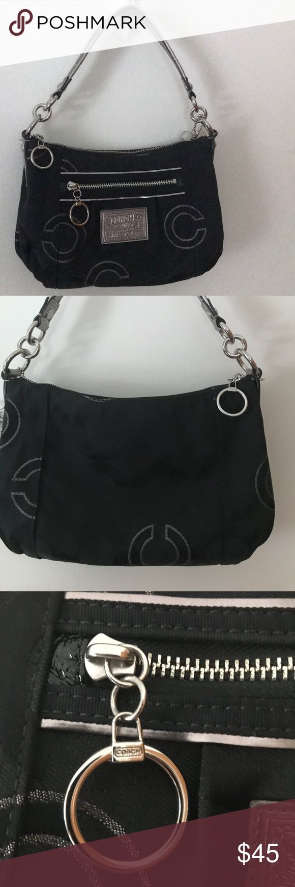Coach pocketbook 💯COACH💯  Coach Poppy pocket book  Original key chains  Black and silver   Silver leather lined strap  Black interior Coach Bags Mini Bags