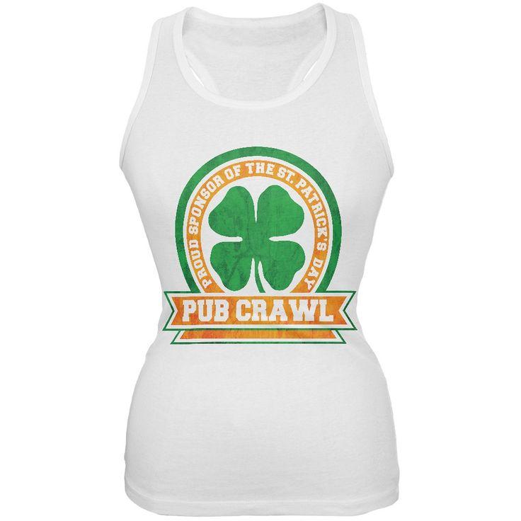 St. Patricks Day - St Patricks Day Pub Crawl White Juniors Tank Top