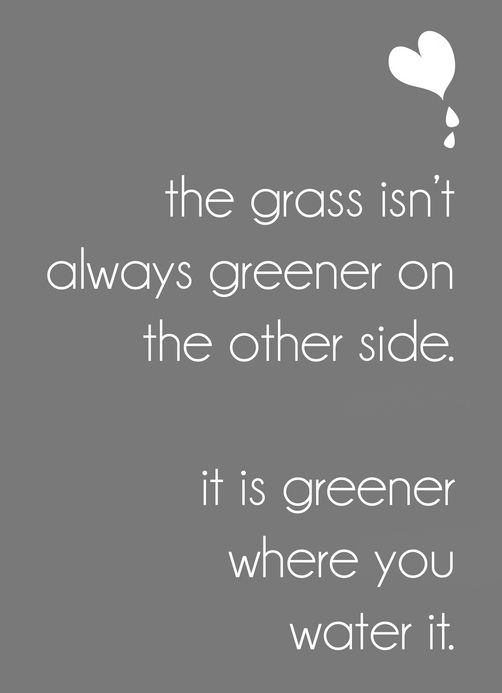 the grass isn't always greener on the other side, it's greener where you water it #TheGrassIsntAlwaysGreener #Quotes #EverythingChangesButYou