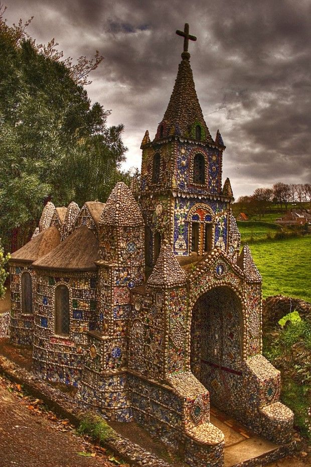 "# Saint Andrew ""The Little Chapel"", decorated by broken pieces of colored glass, in a rural part of Guernsey, Channel Islands (a British Crown dependency in the English Channel, off the coast of Normandy) ~ 17 Astonishing Photos That You must See"