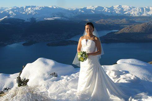 Snow wedding at Cecil Peak Ledge, Queenstown