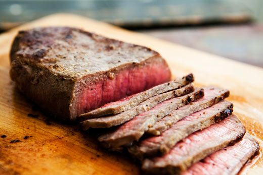 Mom's Pan-fried London Broil Steak ~ Top round steak, seasoned with dry mustard, salt, pepper, and rubbed with butter, pan fried to brown, then finished in the oven if necessary with thicker cuts. ~ SimplyRecipes.com