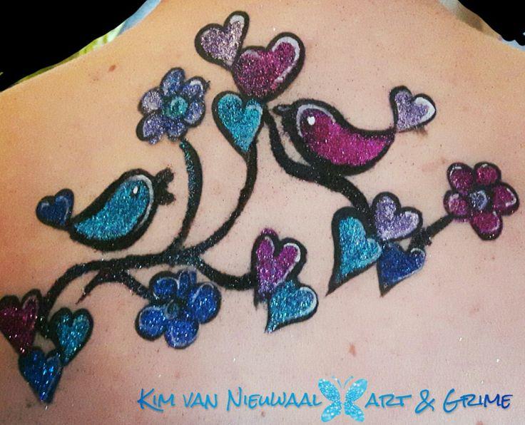 Henna By Leyla Shemesh: Freehand Glittertattoo Birds Ybody Glitter Glue