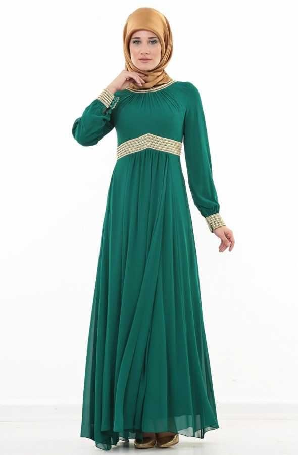 Loreen Nakış İşlemeli Taşlı Abiye Elbise-Yeşil 991-21