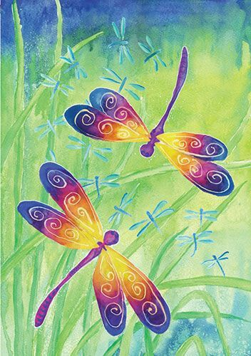 Rainbow dragonflies, beginner painting idea.