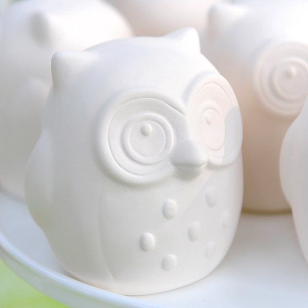 "Ceramic Owls » Whoooo's ready to paint? This ceramic 4"" owl can serve as the perfect art activity and take-home favor for party guests. Acrylic paint recommended and sold separately. Set includes 12 owls."