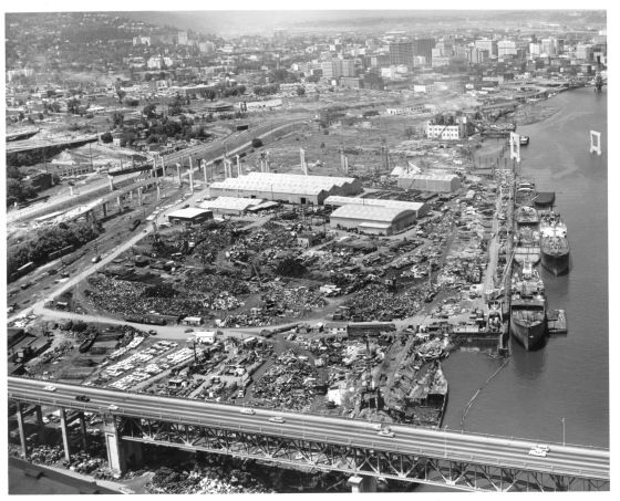 Aerial of riverfront looking north from Ross Island Bridge 1964