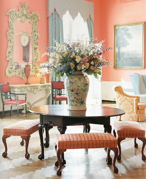 This Coral Sitting Room In The Greenbrier Hotel Is Absolutely Gorgeous.
