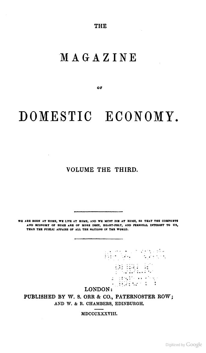 The Magazine Of Domestic Economy   Historical Books