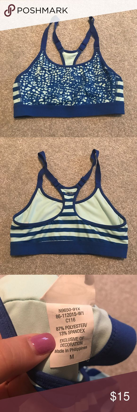 Champion Blue striped sports bra Medium support blue striped sports bra! Only worn a few times around the house, before I realized I needed more support for a larger chest. It's totally adorable and perfect for working out. Champion Intimates & Sleepwear Bras