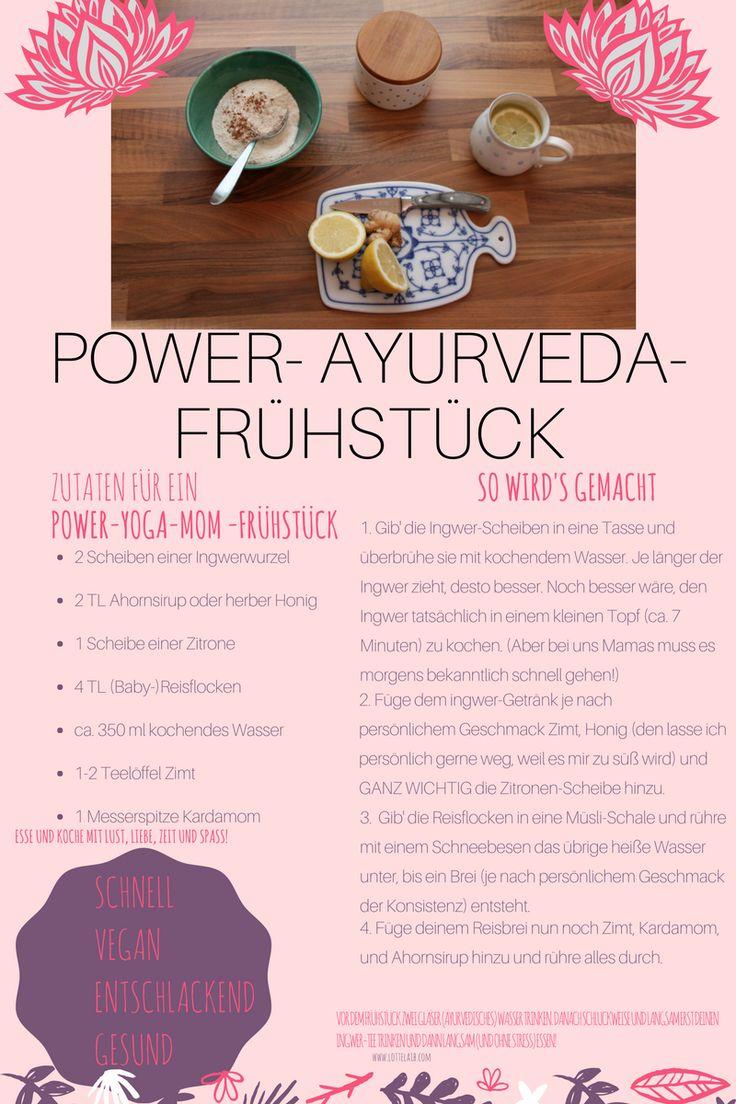 Ayurveda-Frühstück mit Reisflocken, Zimt und Ingwer-Zitronen-Aufguss. Perfekt zum Entschlacken