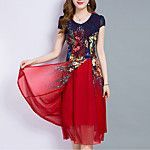 Women's Party Office/Career Daily Casual/Daily Vintage Cute Chinoiserie Sheath Dress,Print Round Neck Knee-length Short SleeveOthers 2017 - $18.39
