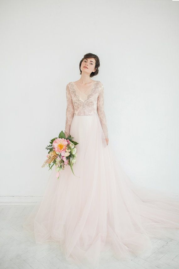 This dress is so delicate and airy like a cotton candy! The top part is made with unique franch lace in light bronze color (limited edition) and