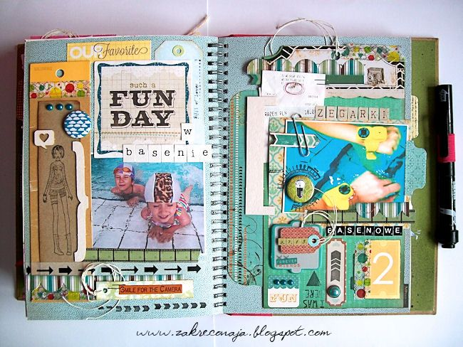 #SMASH* 6 -in the swimming pool - by Madzioza using 3rd Eye stamps and flair buttons