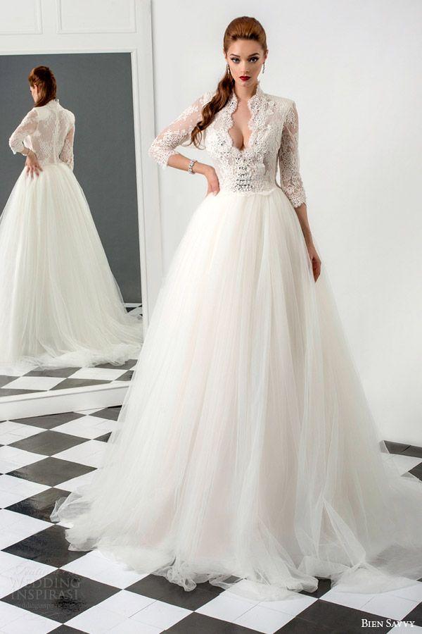 bien savvy #bridal 2015 rebecca three quarter sleeve ball gown #wedding dress lace bodice #weddingdress #weddings #sposa