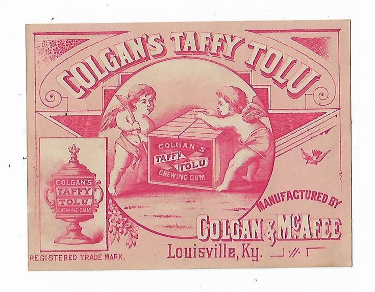 Old Medicine Trade Card Colgans Taffy Tolu Colgan & McAfee Louisville KY Cherubs