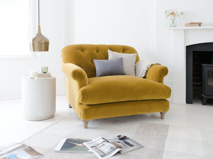 TRUFFLE LOVE SEAT FROM love seat, truffle, truffle love seat, laid back seat, seating, upholstered love seat, yellow love seat, armchair, deep seat, large armchair, chair, cosy armchair, comfy seat, living room, seating, upholstered seating, side table, wood side table, table lamp, side lamp, wool rug, strip rug, throw, cushions, taupe, white, beige, AW17, interior design, homewares, yellow, bright yellow, sunny, sunshine yellow, bumblebee, burnt yellow, gold