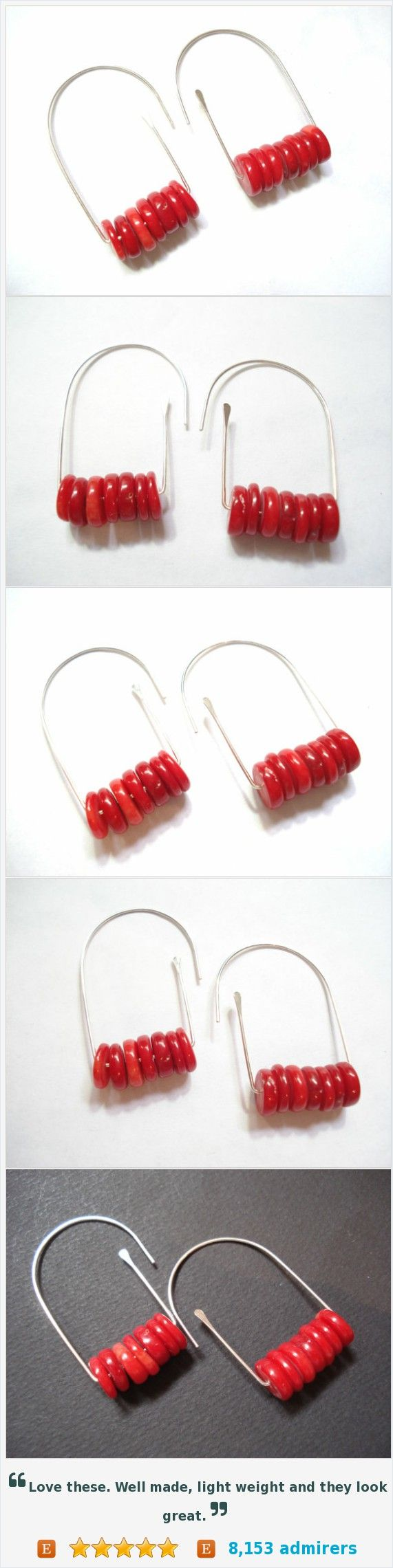 Sterling Silver Coral Hoop Earrings, Handmade Coral Earrings, Delicate Modern Silver Earrings, Sterling Silver Minimal Earrings https://www.etsy.com/listing/480969445/