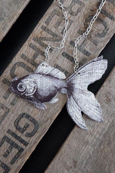 Black and white handmade vintage goldfish necklace by Little Rat's Boutique. #handmade #statementnecklace #pendant #etsy #vintage #vintageillustration #goldfish