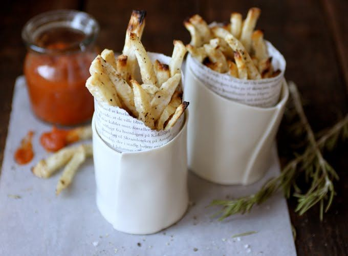 Parsley Root Fried with Homemade Roasted Tomato Ketchup