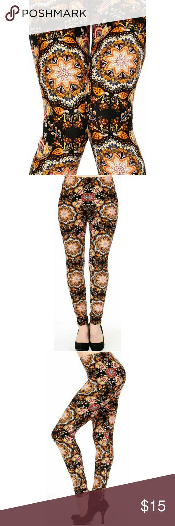 "(Plus) Curvy Abstract Tribal Print Leggings Peachskin print full leggings. Tribal black and orange abstract  print. Highwaisted with 1"" Wide elastic waistband. Very soft. Great to wear dressed up with heels or casual with tennies. New in package.(N218))  L 37"" I 27"" R 10. Fits XL to 2X (14-22) comfortably. One size BohoBeauRoseBoutique Pants Leggings"