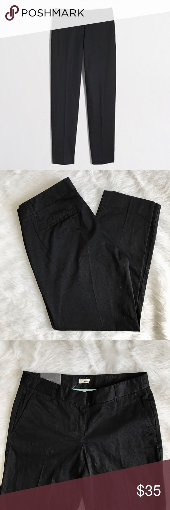 """J. Crew Factory Skimmer Pant in Black Tailored cotton pants from J. Crew Factory. Black. Size 4. NWT. Missing price tag but still has button envelope tag and waist tag. ------------ Cotton with a hint of stretch. Sits just below waist. Fitted through hip and thigh, with a straight, cropped leg. 26"""" inseam. Slant pockets. Machine wash. J. Crew Pants Straight Leg"""