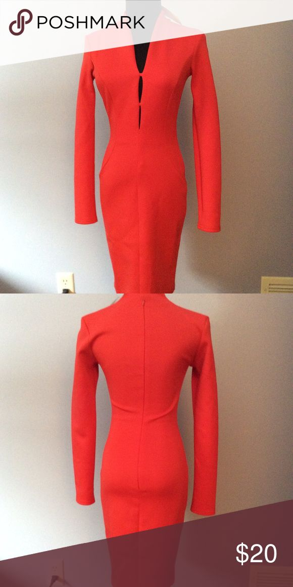 Red long sleeved dress Form fitting red orange dress. Never worn. ASOS Petite Dresses
